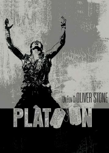 1980's Movie - PLATOON - METALLIC SILVER canvas print - self adhesive poster - photo print